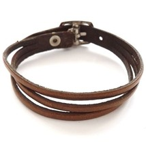 BROWN QUALITY THREE STRAP BANDED LEATHER BRACELET CUFF WITH BUCKLE FASTENER - $10.08