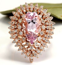 4.60 Carats Natural Morganite and Diamond 14K Solid Rose Gold Ring - $2,192.85