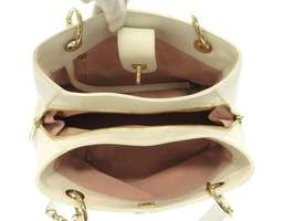 CHANEL Handbag Leather White Chevron V Stitch 2Way Shoulder Bag Italy Authentic image 9
