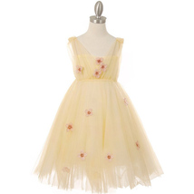 Yellow Pleated Tulle Girl Dress with Raised Flowers - $36.00