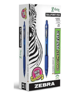 NEW Zebra 22220 Z-Grip Retractable Ballpoint Blue Medium Point 12/Pk Pens - $9.97