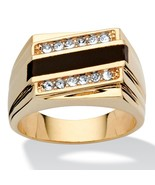 Men's Genuine Onyx Crystal Accent 14k Gold-Plated Classic Ring - $29.82