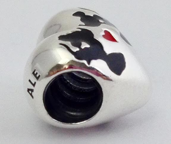 ed87cecf4 Authentic Pandora Disney Minnie & Mickey Kiss Charm, 925 Silver 791443ENMX  New