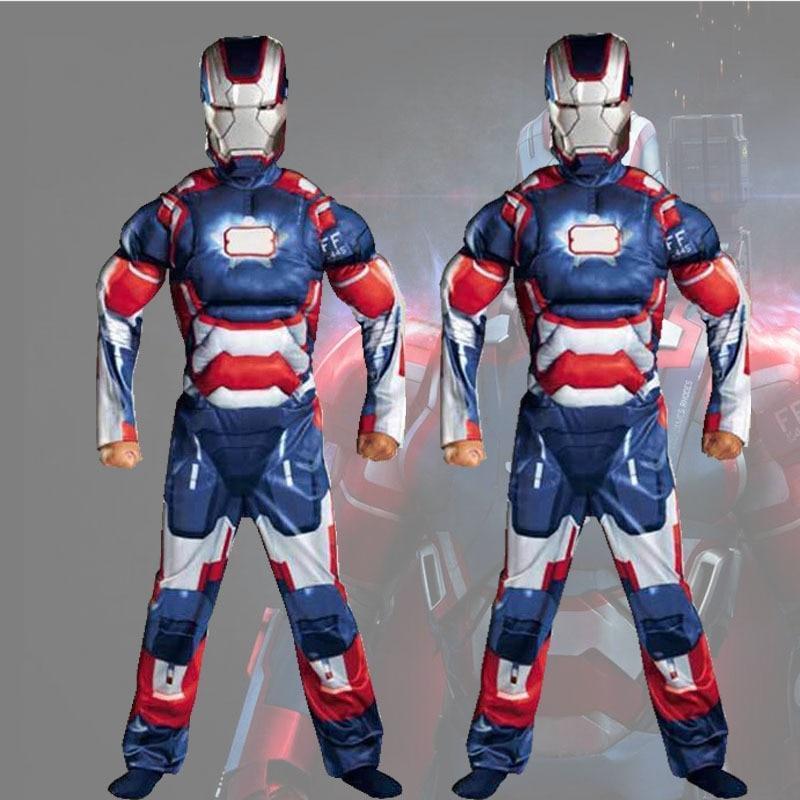 Boys Muscle Super Hero Captain America Costume Spiderman Hulk Batman Avengers
