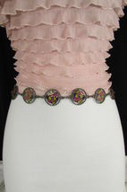 Damen Zinn Metall Bling Gürtel Gelb Rosa Blume Anhänger Hüfte Taille S M L image 8
