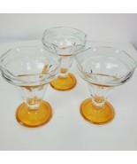 Set of 3 Vintage Tulip Glass Ice Cream Sundae Amber Color Footed Dessert... - $32.65