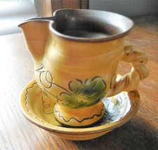 Vintage LIECHTENSTEIN GRAPE VINE LEAF PATTERN MINIATURE Bowl & Pitcher - $28.76