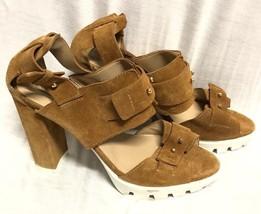Bcbg Maxazria Shoes Suede Sandals C Ombat Heel Camel Size: 9 / 39 - $23.36
