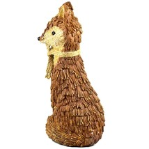"""Delton Products Rustic Natural Tan Brown Seated Sitting Fox 10"""" Resin Figurine image 2"""