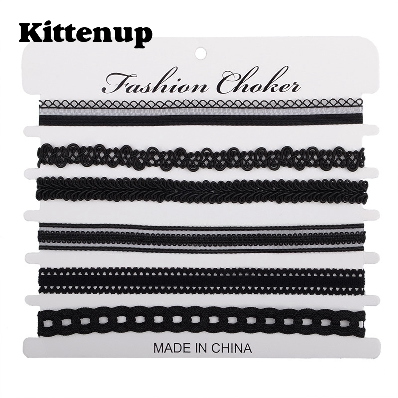 Kittenup 6Pcs/sets Fashion New Black Sexy Chokers Necklaces for Women