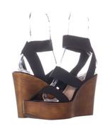Steve Madden Blondy Wedge Heel Sandals 938, BlackFabric, 9.5 US - $28.79