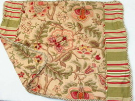 Waverly Imperial Dress Antique Jacobean Floral Stripe Red Green Standard Sham - $32.00