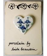 Porcelain Heart Pin by Linda Beaudoin Iris Flowers Original Card - $5.00