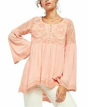 Free People Sea Of Love Eyelet Blouse Pink XL Bell Sleeve Pullover $128 NWT - $59.99