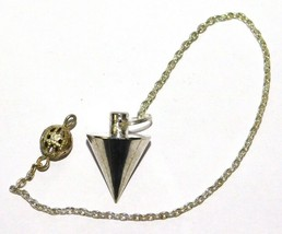 Healing Point Brass Pendulum Karnak Egyptian Dowsing Chain Silver Overla... - $5.89