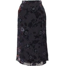 DANA BUCHMAN Black Multicolor Floral Velvet Burnout A-line Skirt 20 20W NEW - $169.99