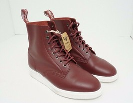 Dr. Martens Newton Lightweight Ankle Combat Boots Red Leather 8-Eye Lace... - $89.10