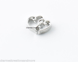 Double Hollow Hearts Linked Love Floating Charm For Glass Memory Locket ... - $1.97