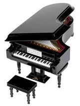 ComputerGear Black Baby Grand Piano Music Box with (The Lion Sleeps Toni... - $67.08