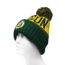 Oregon Men's Winter Knit Landmark Patch Pom Beanie (Green/Gold) image 2