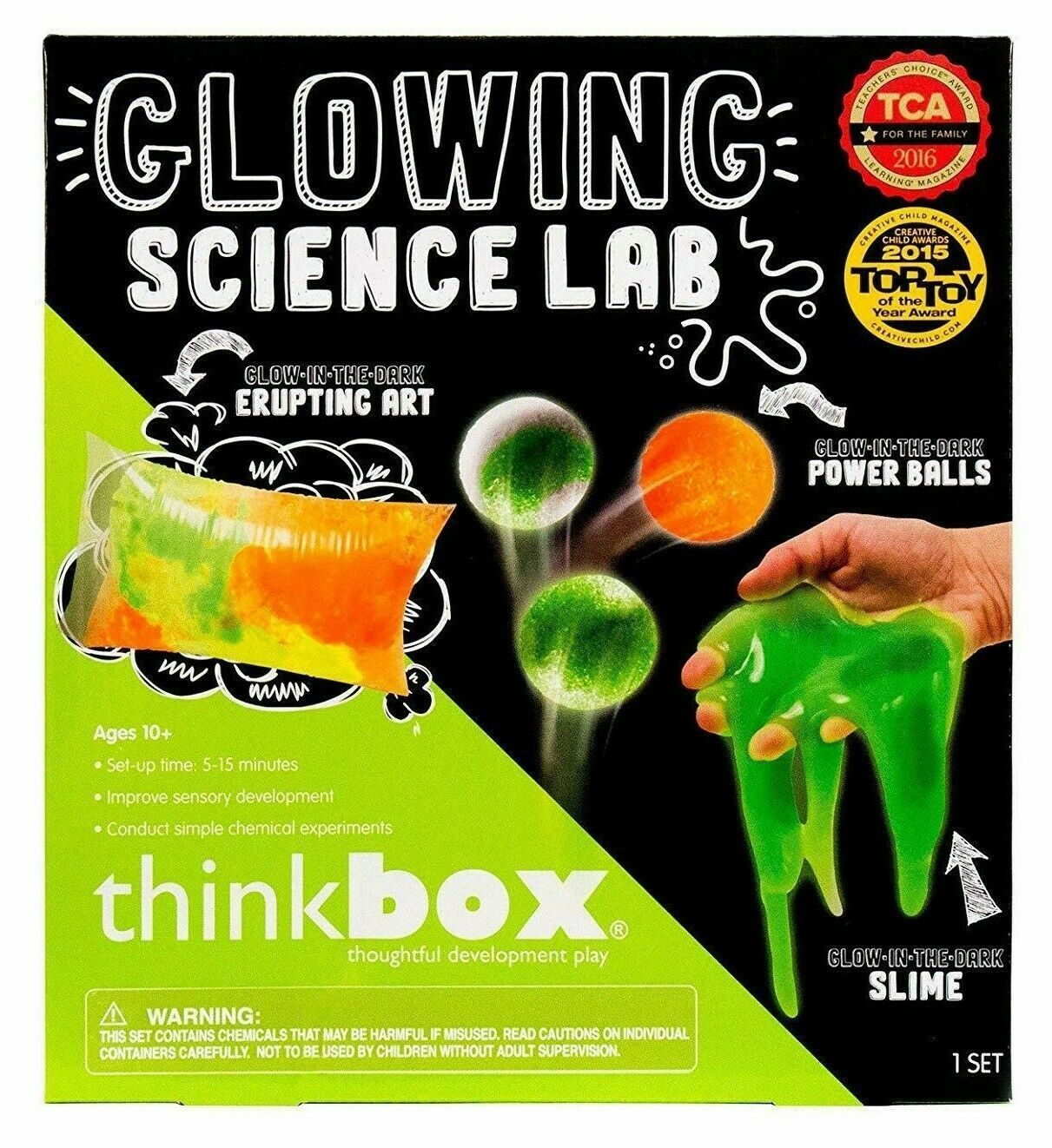 Think Box Glowing Science Lab Glow Dark Slime Power Balls Kids Craft Activity NW