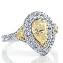 2 Carat Yellow Pear Shaped Diamond Engagement Ring Double Halo 18k White... - £3,655.71 GBP