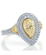 2 Carat Yellow Pear Shaped Diamond Engagement Ring Double Halo 18k White... - €4.067,36 EUR