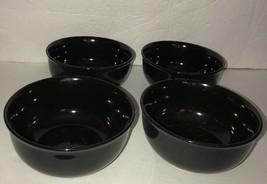 Royal NORFOLK-BLACK CEREAL/SERVING Bowl Set Of 4-Micro/Dish Safe- Ships N 24 Hrs - $29.58