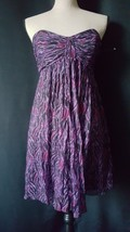 EXPRESS  Strapless  Bustier Dress,  Pleated Size 4 Purple and Black Casual - $5.98