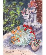 ACEO Original Patio flowers pots floral garden shrubs backyard sidewalk - $16.00