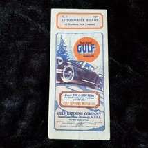 Vintage Gulf Gasoline Northern New England Road Map 1929 Maine New Hamps... - $25.22