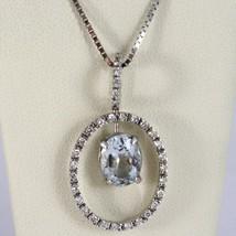 NECKLACE WHITE GOLD 750 - 18K, PENDANT AQUAMARINE AND FRAME OVAL DIAMONDS image 1