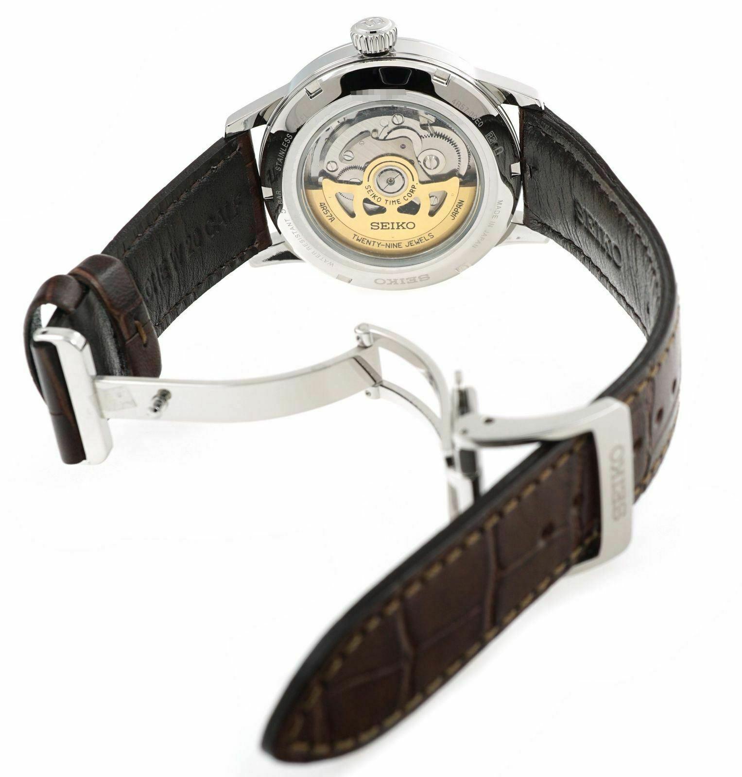 New Seiko Presage Champagne Dial Leather Strap Men's Watch SSA387
