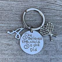 Personalized Tennis Keychain with Letter Charm, Custom She Believed She ... - $14.99