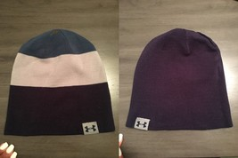 NWOT Under Armour Reversible 4-in-1 Stripe Solid Logo Beanie Hat Blue Te... - $14.99