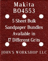 Makita BO4553 - 1/4 Sheet - 17 Grits - No-Slip - 5 Sandpaper Bulk Bundles - $7.14