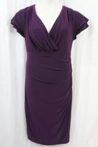 Ralph Lauren Dress Sz 4 Purple Jersey Cap Sleeve Stretch Career Cocktail... - $59.35