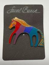 "Vintage Laurel Burch Gold Tone Horse Caballo Brooch Pin Enameled Signed 2"" - $24.95"