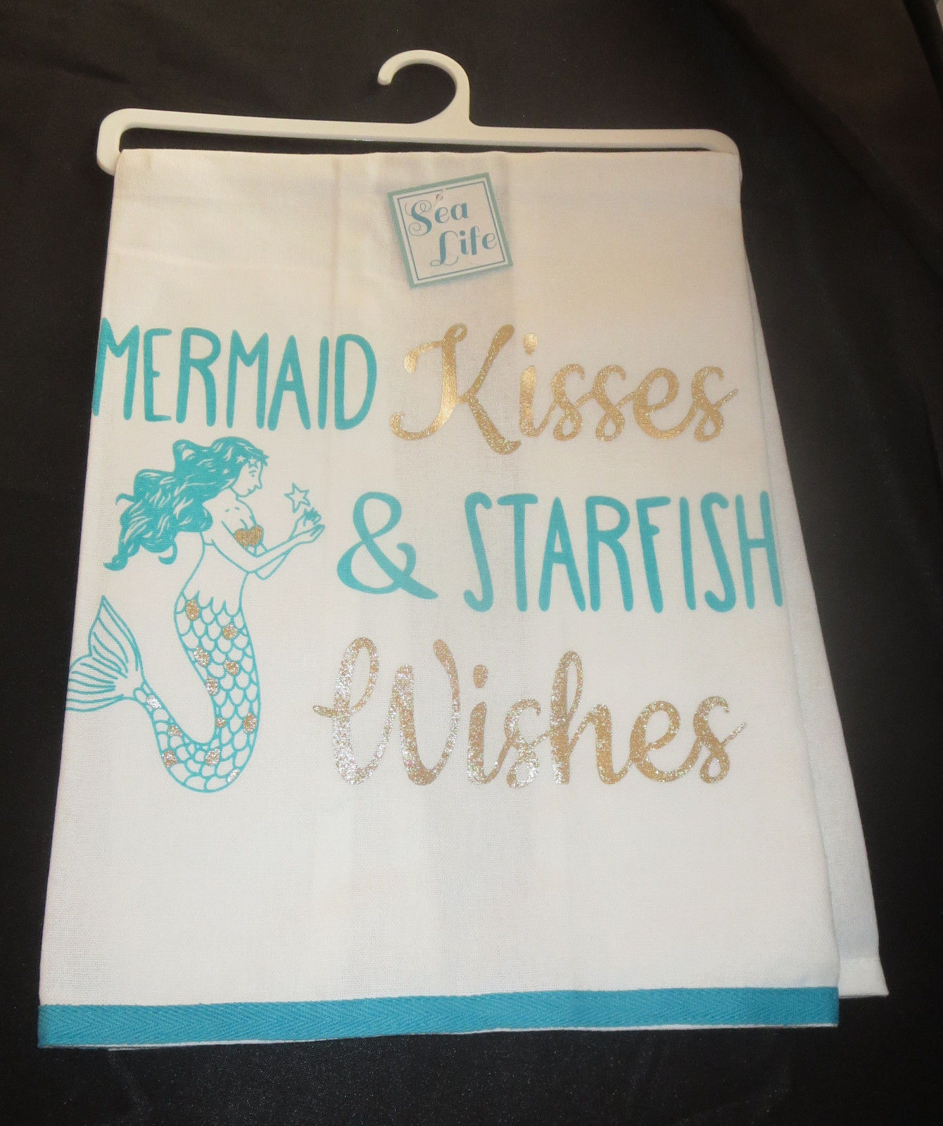 Primary image for Mermaid Kisses and Starfish Wishes Dish Towel New 100% Cotton Silver Aqua White