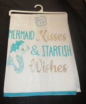 Mermaid Kisses and Starfish Wishes Dish Towel New 100% Cotton Silver Aqu... - $13.85