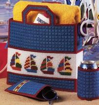 Plastic Canvas Nautical Sailing Ship Tote Eyeglass Lighthouse Doorstop Pattern - $8.99