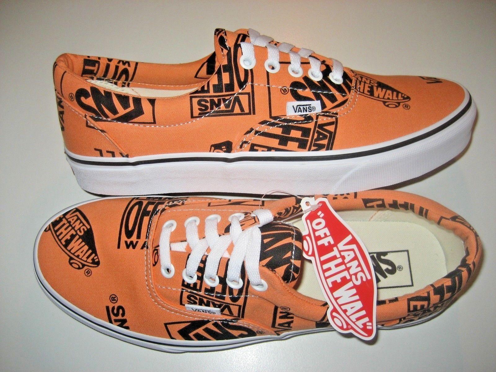 Vans Era Womens Logo Mix Tangerine Orange Black Canvas Skate shoes VN0A38FRU8K