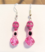 sugar skull evil eye dice pink earrings bead dangles day of the dead jew... - $5.99