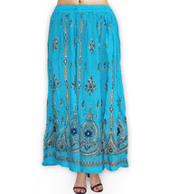 Turquoise Long boho gypsy tribal belly dance sequins Jaipur skirts - $18.70