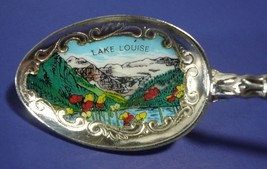 Vintage LAKE LOUISE Canada Enamel Silver Plate Souvenir Spoon Made in Ge... - $14.00