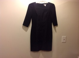Black Bodycon 3/4 Sleeve Dress w Textured Center by H&M Sz 10