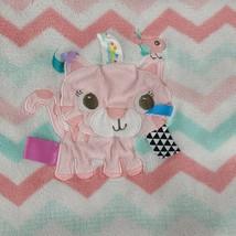 TAGGIES Tiger Cat Chevron Pink Aqua Baby Blanket Satin Tags 30x40 Security Lovey - $59.39