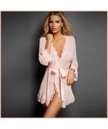 Erotic Pink Lace Trimmed Transparent Long Sleeve Belted Kimono Robe Plus... - $58.95