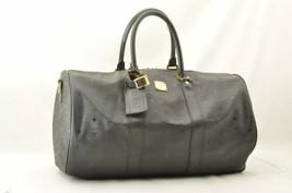 MCM PVC Leather Boston Bag Black Auth 10448 No Strap - $257.65