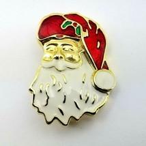 1 Vtg Holiday Christmas Brooch Pin Gold Tone Vtg Santa Claus Head Face H... - $11.85